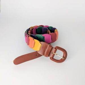 Accessories - Vintage Colorful Rainbow Leather Belt